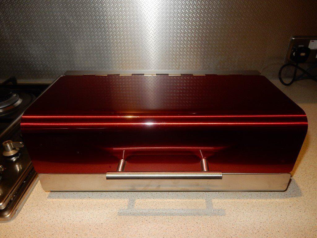 Designer Metal Dark Red Metallic Retro 50's Bread Bin Steel Design