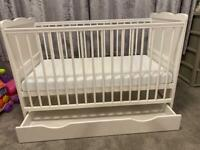 White cot bed 6 months okd