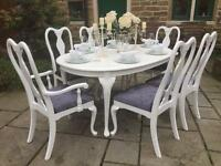 Vintage Shabby Chic Extending Dining Table & 6 Chairs ~ Grey & White