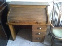 antique vintage Childs roll top school desk