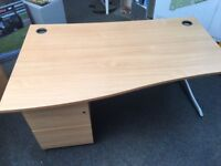 Beech effect curved office desk with matching pedestals/drawers