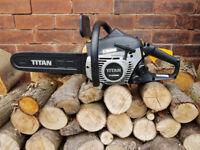 """Titan Petrol chainsaw + 16"""" bar + good chain + stihl oil"""