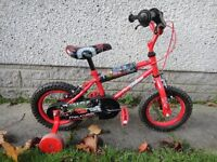 Disney cars bike, 12.5 inch wheels with stabilisers suit age 2 to 4 years
