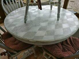 Shabby chic solid table and four chairs