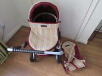 MAMAS AND PAPAS DOLLS PRAM WITH MATCHING BOUNCER CHAIR LOVELY ITEMS!!