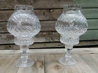TYRONE CRYSTAL 2 PIECE GLOBE CANDLE HOLDERS.