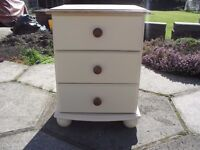 Shabby Chic Farmhouse Country Pine Bedside chest of drawers /cabinet In Farrow & Ball Cream No 67