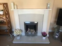 Marble fire hearth & backplate.