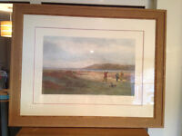 Framed and glazed golfing print of painting by Douglas Adams
