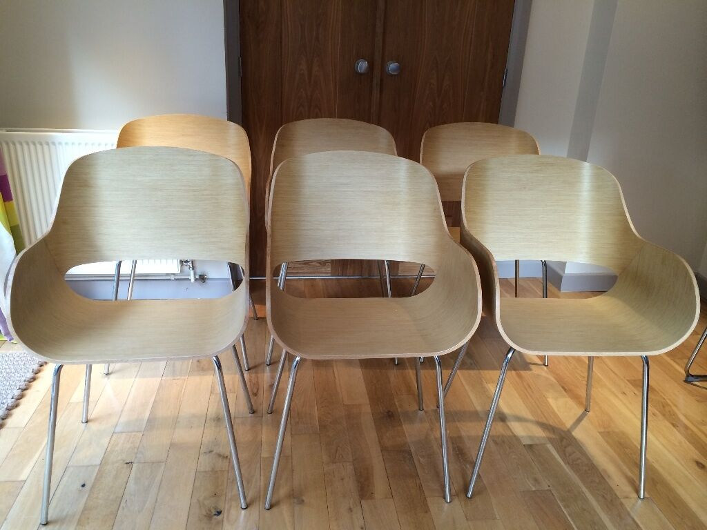 6 contemporary beech veneer style bucket dining chairs for Bucket dining room chairs