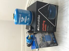 Camping stove, gas and kettle bundle