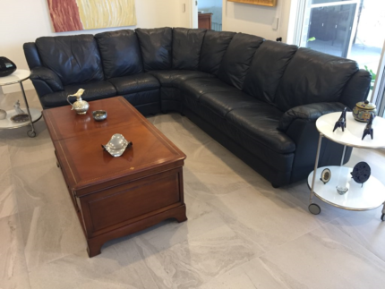 French Navy Italian Leather L Shaped Lounge (Price Reduced)