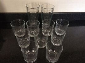 Selection of glasses in various sizes. 2 tall and 9 tumbler size.