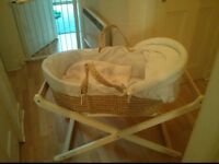 Mamas and Papas Moses Basket with Duvet and Mattress and Mother Care White Stand.