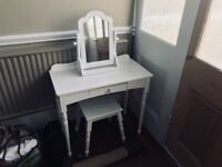 Girl's dressing table, mirror and stool