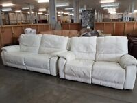 PRE OWNED Manual Reclining 3 Seater Sofa + Manual Reclining 2 Seater Sofa in Cream Leather