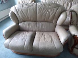Leather & Wood Sofa and Two Armchairs