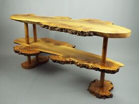 Burr Elm two tiered coffee table. Natural wood handmade