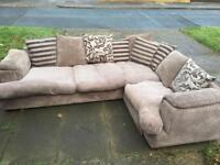 Beige mink jumbo cord large corner sofa in very good condition