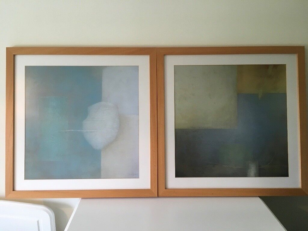 Next framed contemporary picture print wall art set of two