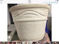 Patio pots, several, different colours, one concrete, some terracotta