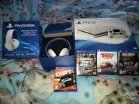PlayStation 4 (like new) brand new wireless headset and 4 games