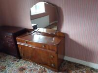 Art Deco solid walnut dressing table and mirror