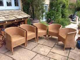 Five wicker tub chairs
