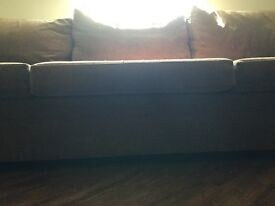 Huge Tan Brown 4 Seater Fabric Sofa 310cm x 110cm Excellent Condition Looks Fab