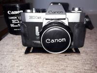 Canon EX Auto Vintage Camera with 50mm and 95mm lenses