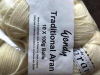 Aran wool 10 x 100g balls wendy