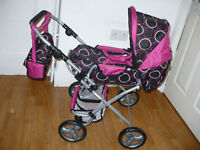 Bayer Chic 2000 Bambina Dolls Combi Pram, Carrycot and Buggy Bag - Pink Orbital. Like real one. New.