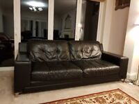 3 seaters DFS leather sofa Black colour + FREE 3 and 2 seaters SCS leather sofas Red colour