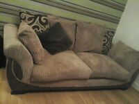 3 seater sofa. soft fabric, chocolate and light brown mix. perfect condition