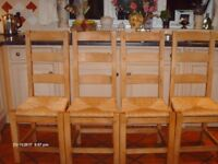4 Pine Ladder back dining chairs
