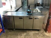 Commercial bench counter pizza fridge for pizza meat chiller restaurant takeaway lansba