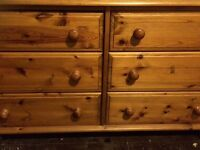 Sturdy wooden chest of drawers