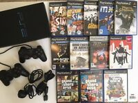 Sony PS2 Bundle   Playstation 2 Console + 2 Controllers + 12 Classic Games inc GTA Sims Mafia & More