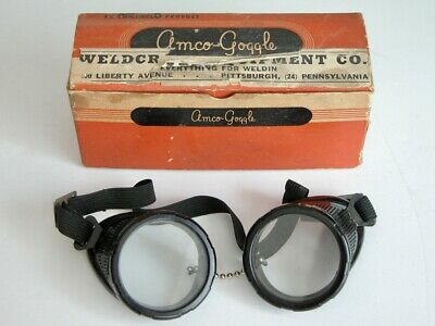 Vtg Amco-goggle Safety Goggles Steampunk Clear Round Lenses Welding