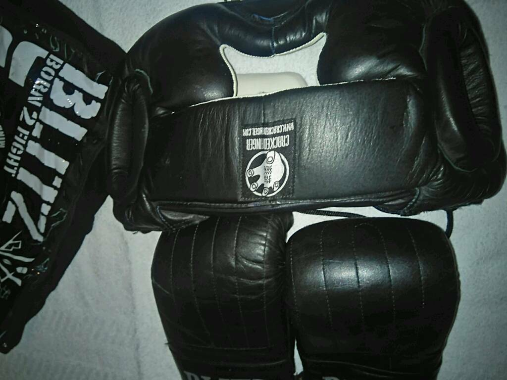 LEATHER BOXING HEAD PROTECTOR AND GLOVES