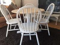 Amazing Shabby Chic Round Oak Table and 4 Lovely Chairs