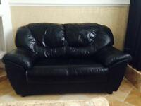 DFS EXCELLENT CONDITION 2 seater genuine Italian black leather sofa settee