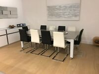 10 CANTILEVER DINING CHAIRS FAUX LEATHER 6 BLACK 4 WHITE