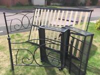 SOLD Metal framed double bed with wooden slats & under-bed drawers