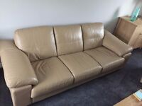 Large Leather 3 Seat Sofa and Recliner Chair Taupe/Coffee