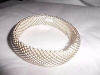 "Tiffany & Co. Somerset Mesh Domed Bangle Bracelet Sterling Silver 7.5"""