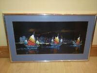 Framed Picture Hanging Wall Decor Art - Three Ships at Sea