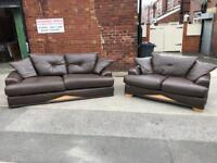 Brown leather 4 seater and 2 seater sofa