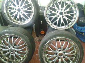 Wheels needing refurbished five stud off set 42 stud diameter 112 rim width 8j will fit most cars.