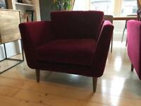 ALMOST NEW Beautiful Mid Century Style Red Velvet Armchair (costs £800 new)